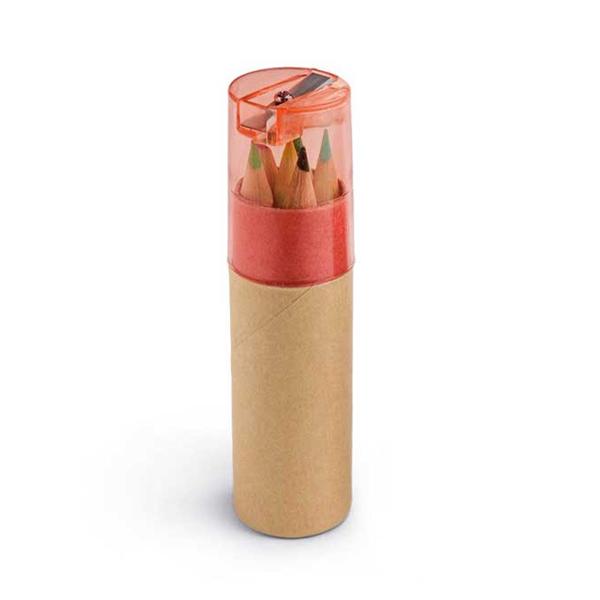 Boite de 6 crayons de couleur promotionnels écologiques Little Pablo naturel/orange