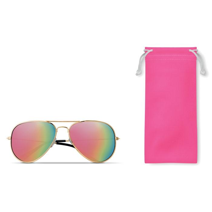 Lunettes de soleil publicitaires UV 400 et pochette microfibre bleu Malibu - cadeau promotionnel