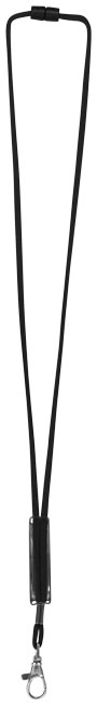 Tour de cou personnalisé avec patch ajustable Landa - Lanyard publicitaire - noir