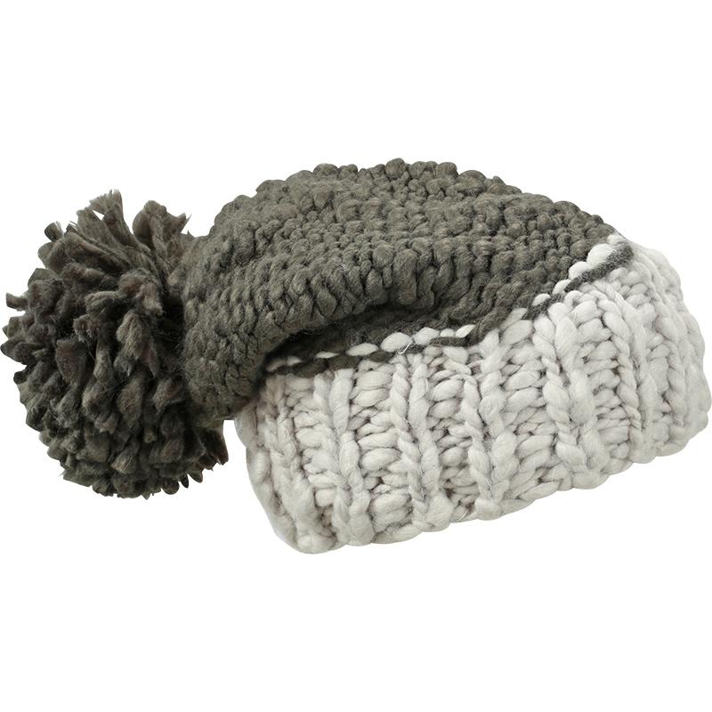 Bonnet publicitaire bicolore à pompon, charbon noir et gris glacier.