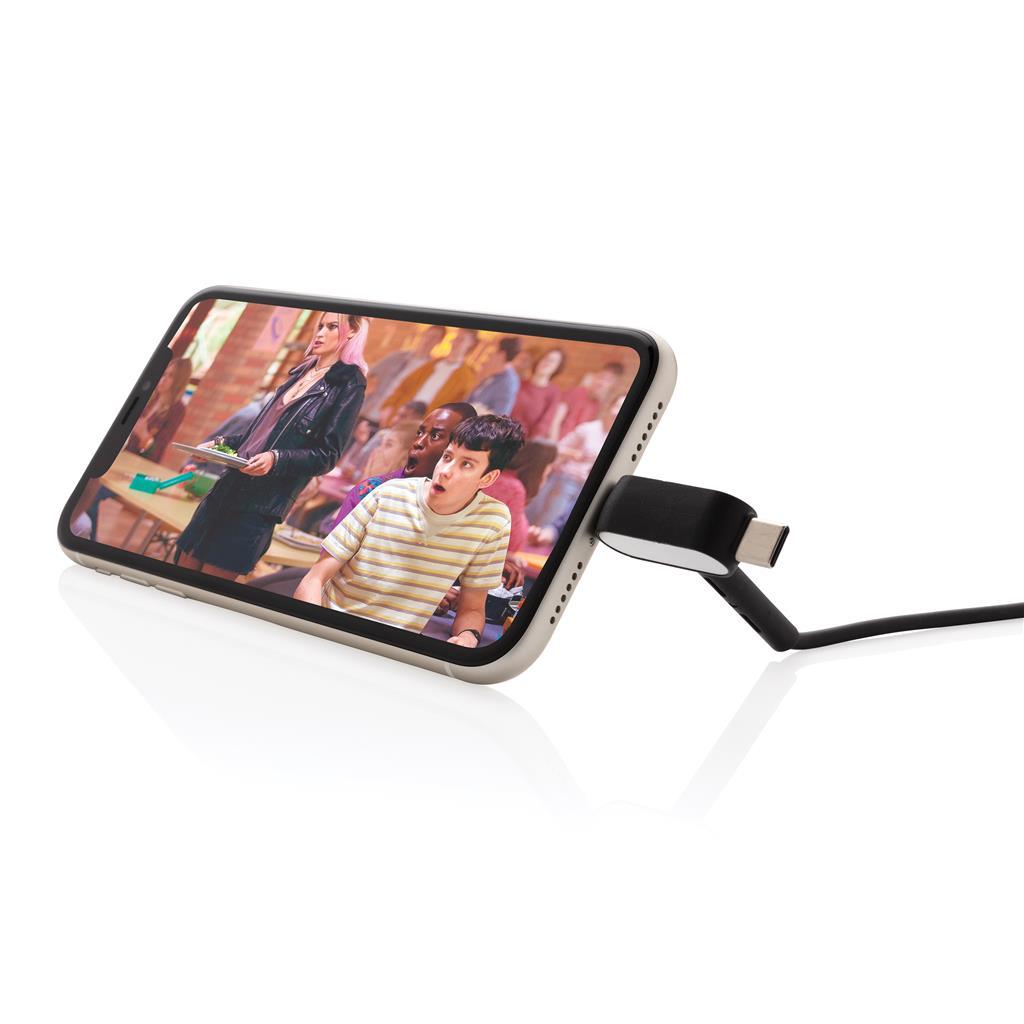 câble publicitaire avec support smartphone face