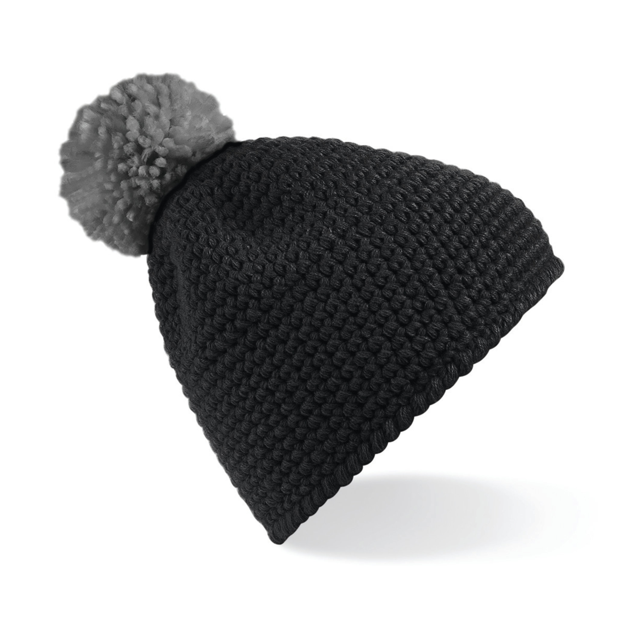 Bonnet publicitaire Waffle - bonnet promotionnel noir/gris