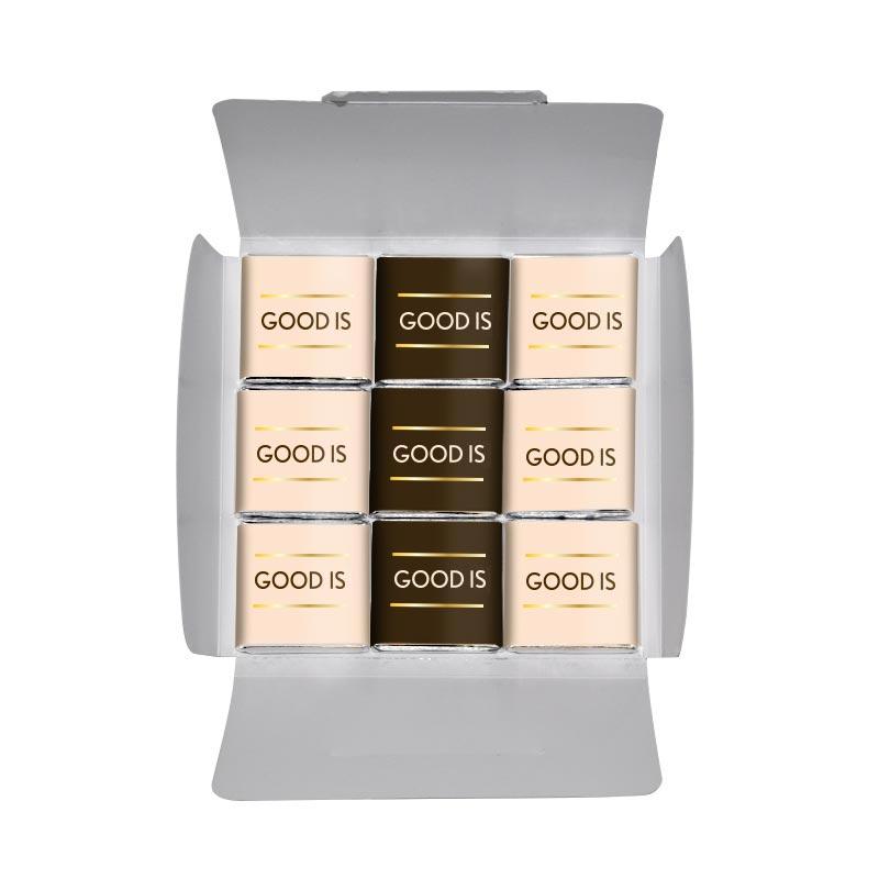 Chocolat personnalisable pour entreprise - Carte 9 carrés de chocolat quadri