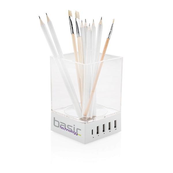 Objet publicitaire - Porte-crayon chargeur USB Pennett