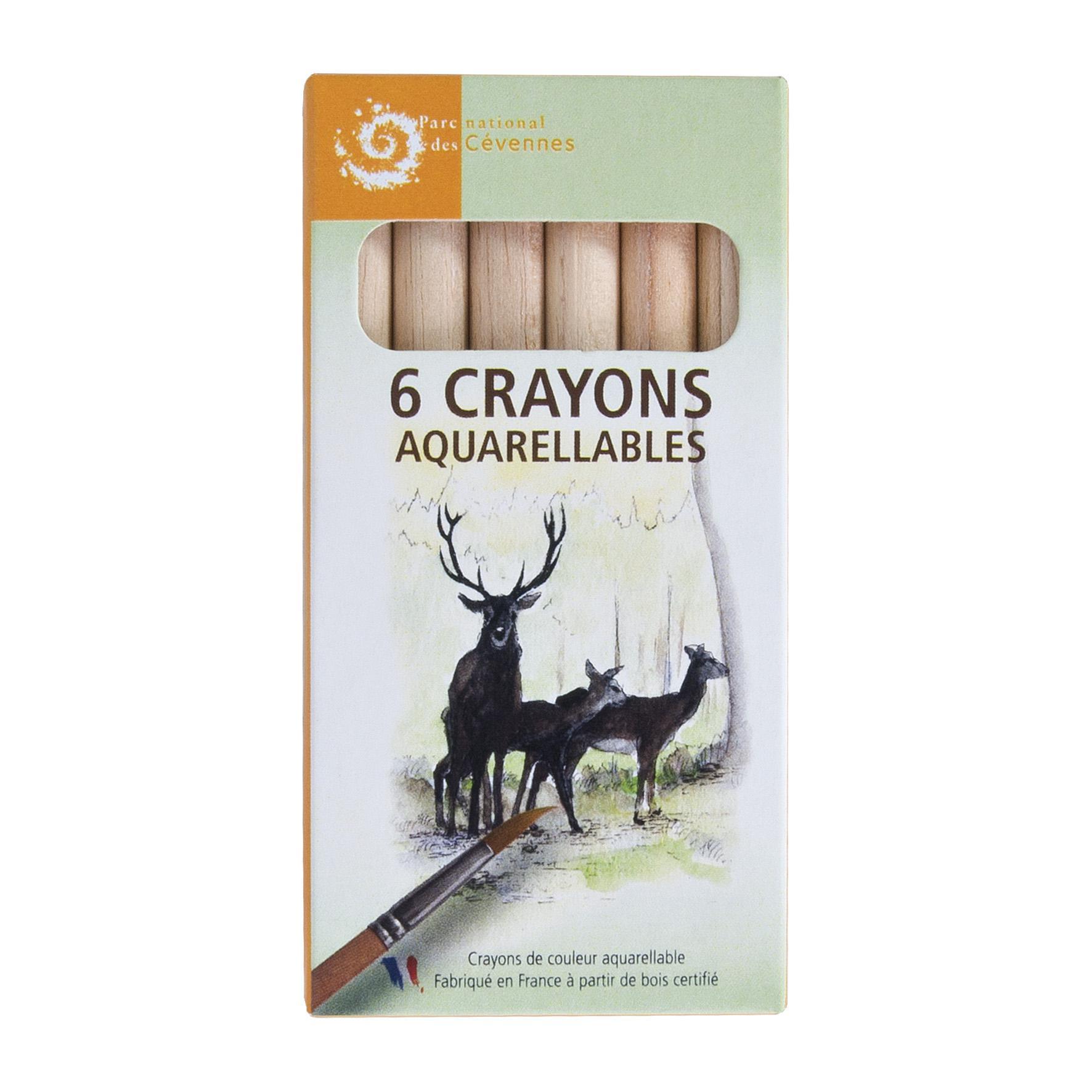 crayons de couleurs publicitaires personnalisés - 6 Aquarellables Eco 8,7