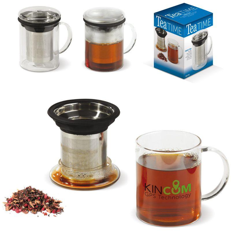 Verre à thé publicitaire avec passoire couvercle Tea-Time - cadeau publicitaire