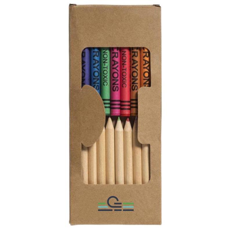 Set de coloriage publicitaire Fusi 19 crayons, présenté dans une boîte en carton