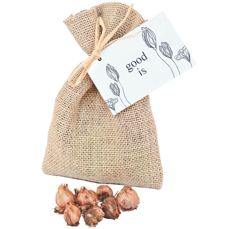 Sachet en toile de jute avec bulbes de fleurs
