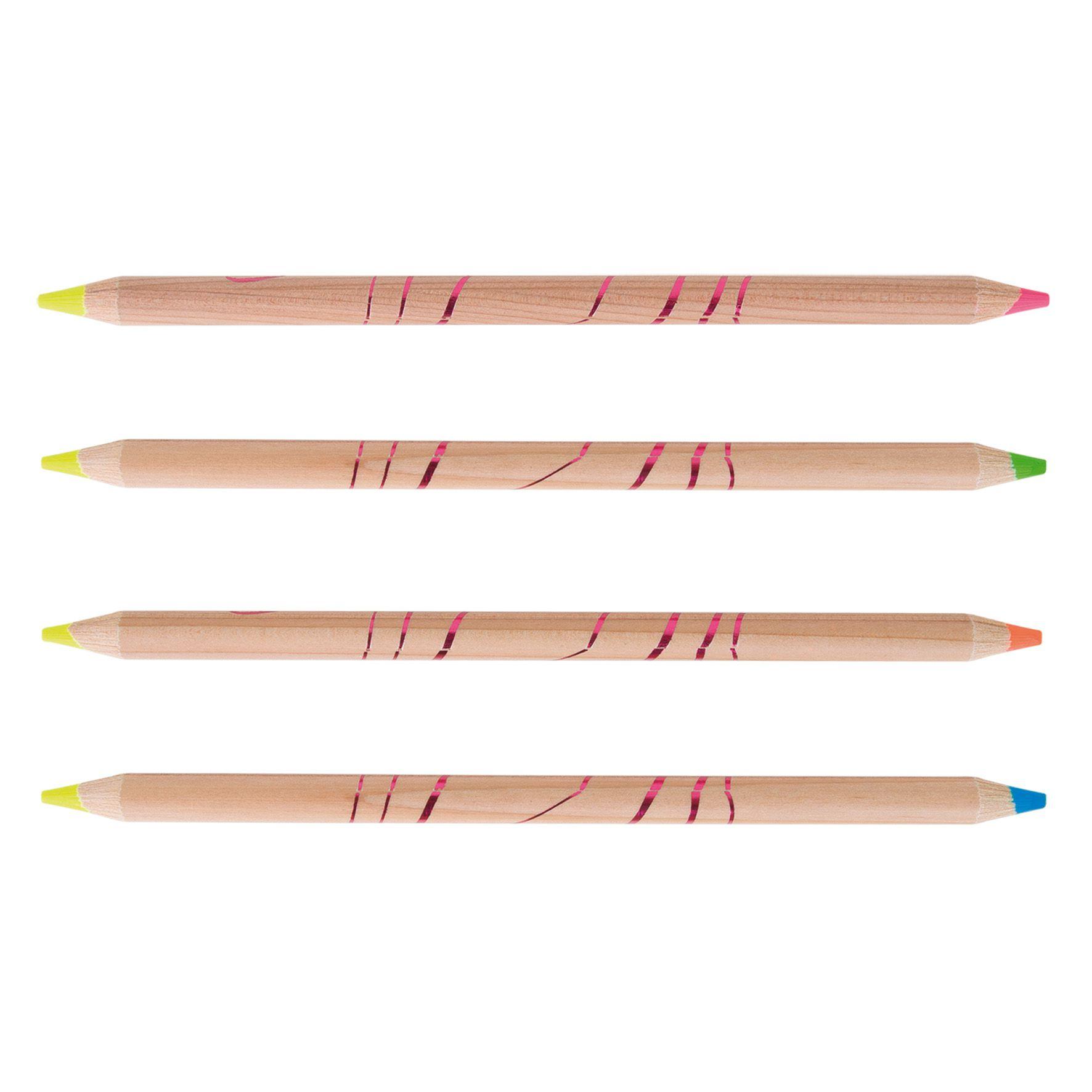 Surligneur personnalisable bois naturel Bi-coul - crayon écologique à personnaliser