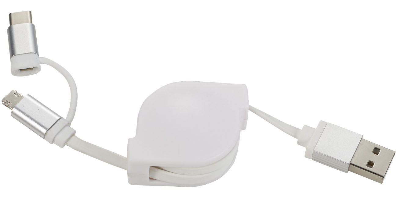 Objet publicitaire - Câble de chargement personnalisé 3 en 1 C One +