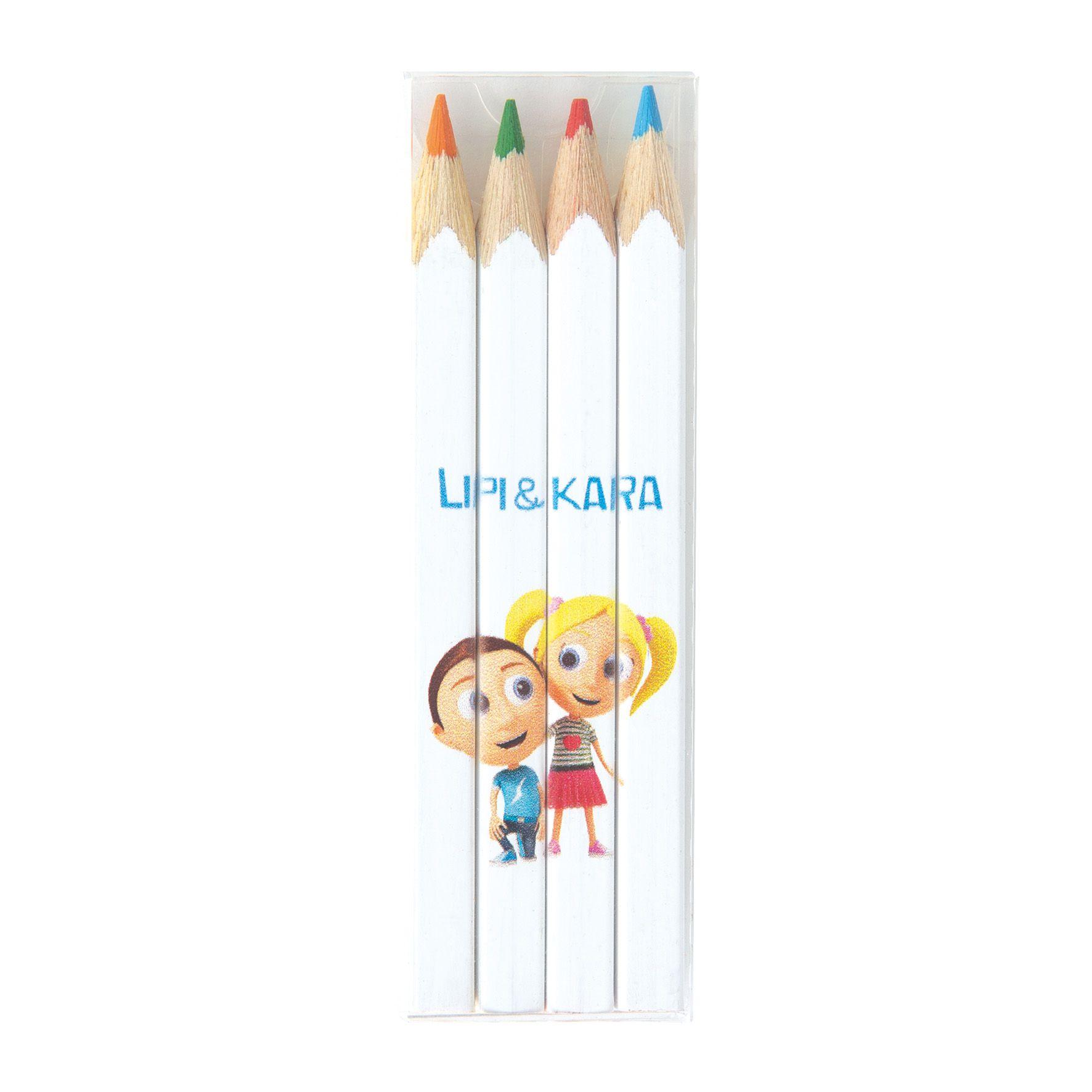 Cadeau publicitaire écologique - Set mini crayons publicitaires quadri 4 couleurs 8,7 cm