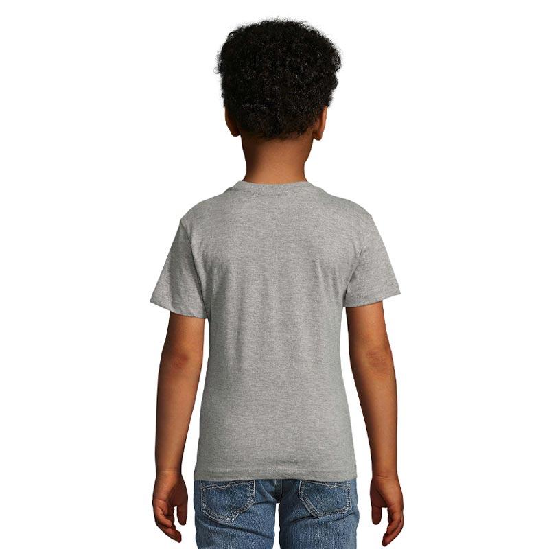 tee-shirt publicitaire enfant en coton bio gris Milo - dos