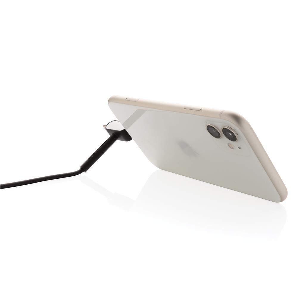 câble publicitaire avec support smartphone dos