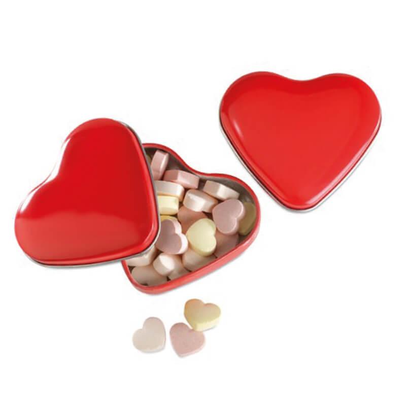 Boîte coeur avec bonbons publicitaires