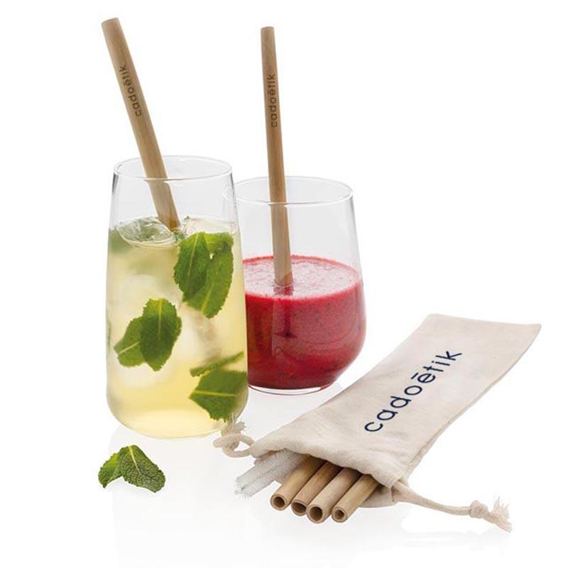 Cadeau d'entreprise -écologique - Set de pailles en fibre de bambou Ecosy