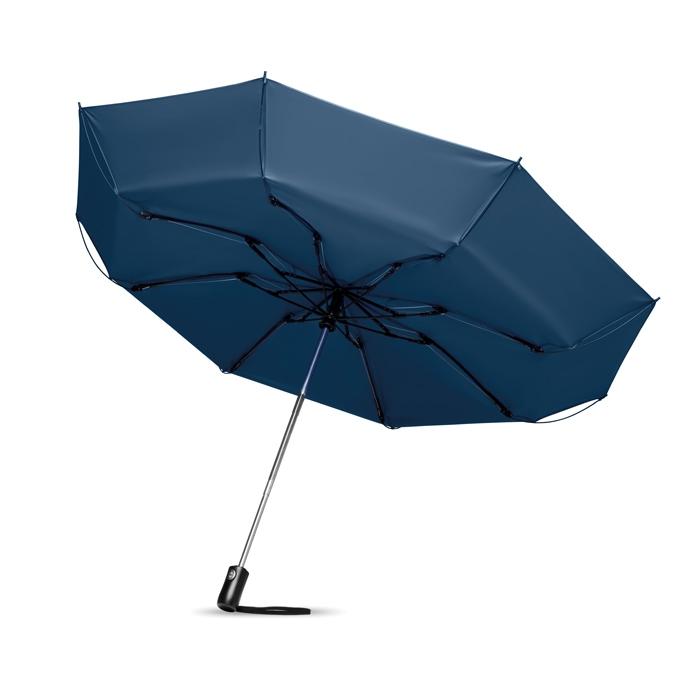 Parapluie publicitaire réversible pliable Dundee - Parapluie publicitaire anti-tempête