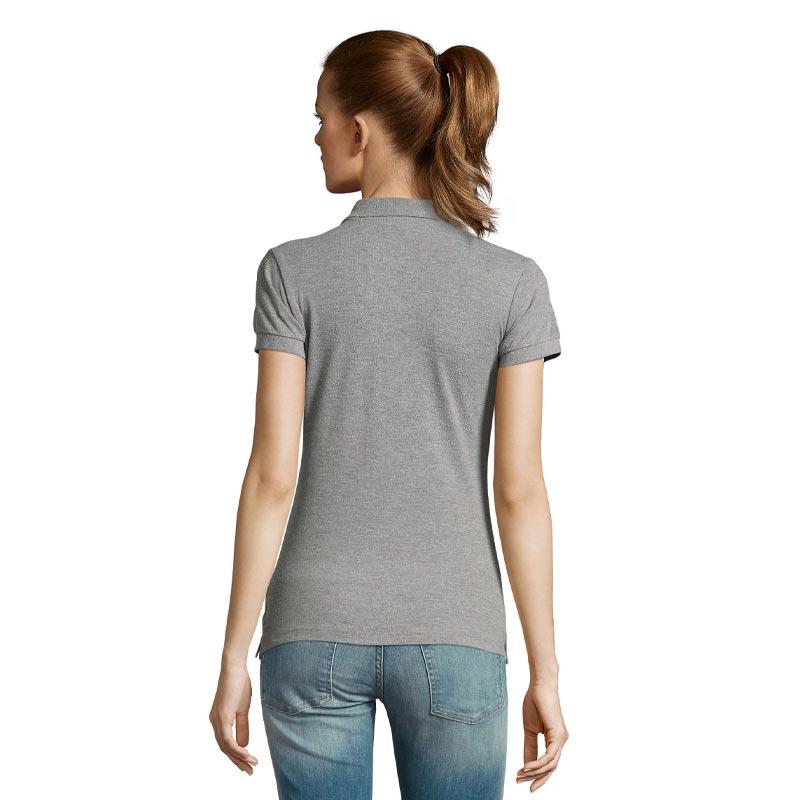 Polo publicitaire en coton vue de dos modèle femme