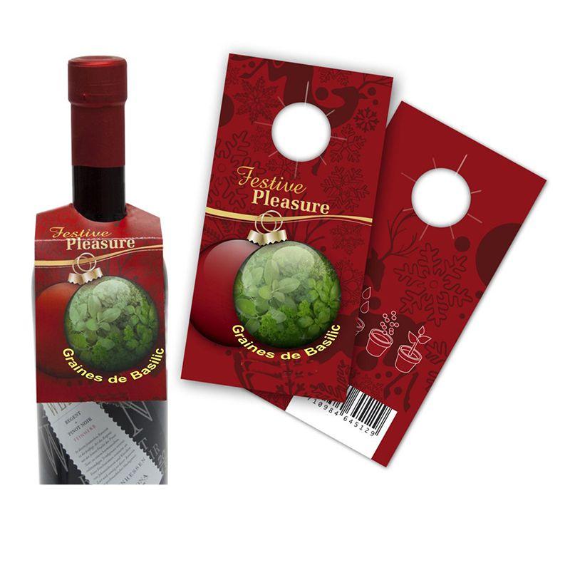 Graines publicitaires - Sachet personnalisable collerette pour bouteille