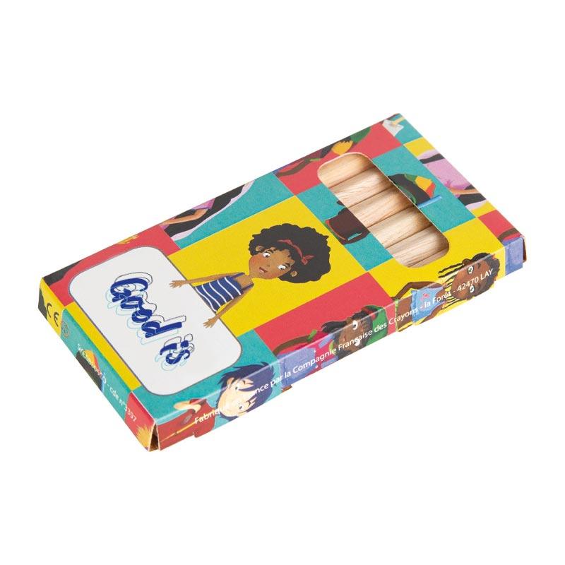 Étui de 6 crayons de couleur publicitaires Eco 8,7 cm - Goodies écologique