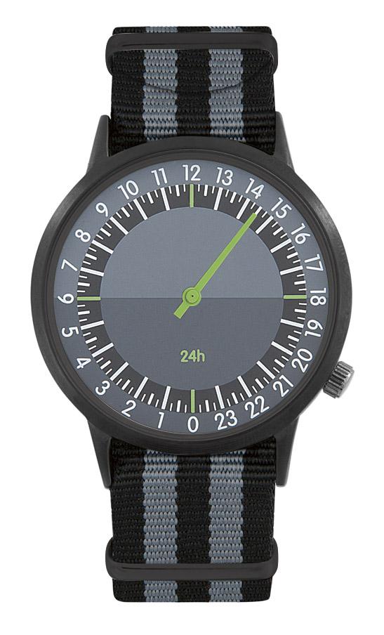 Montre personnalisable horloger 24h noir/orange - cadeau d'entreprise