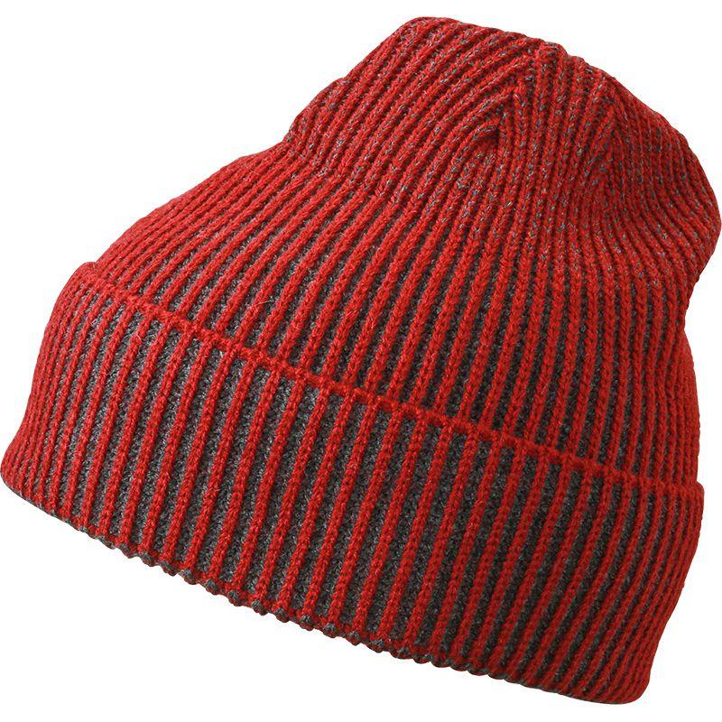 Bonnet publicitaire Tricot bicolore, rouge foncé/anthracite