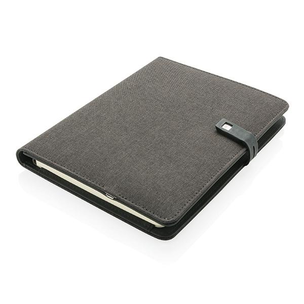 Cadeau publicitaire - Housse à carnet de notes A5 avec powerbank et clé USB Kyoto