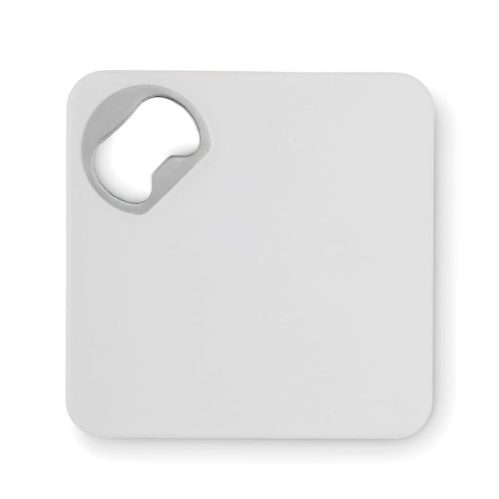 Objet publicitaire - Dessous de verre décapsuleur publicitaire Piatto - blanc