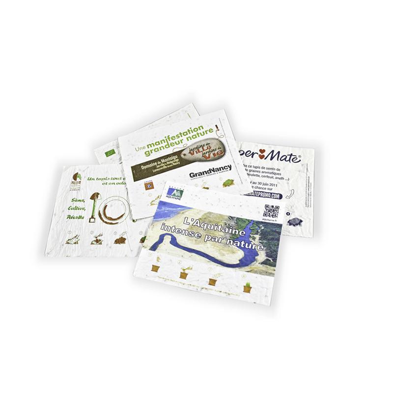 Graines publicitaires - Tapis de semis publicitaire biodégradable format A4