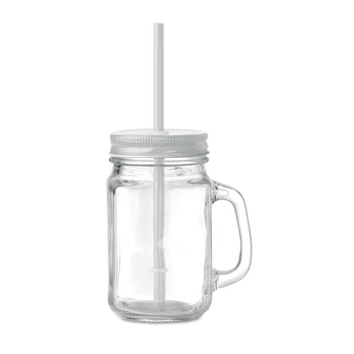 Grand verre transparent publicitaire avec couvercle et paille Twist