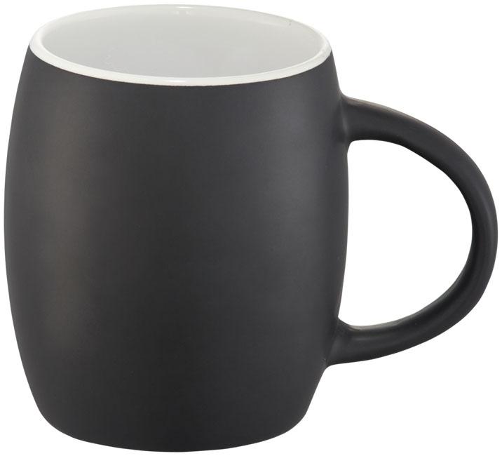 Mug publicitaire en céramique Hearth noir et blanc
