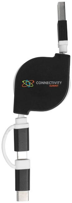 Objet publicitaire - Câble de chargement publicitaire 3 en 1 C One + - noir
