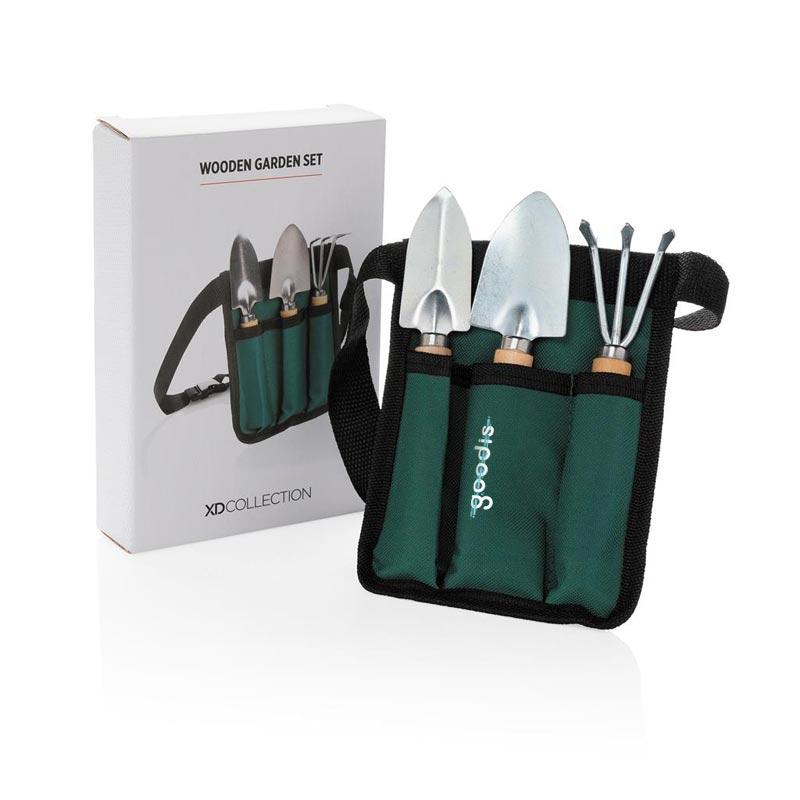 Set de jardinage 3 outils avec pochette et packaging