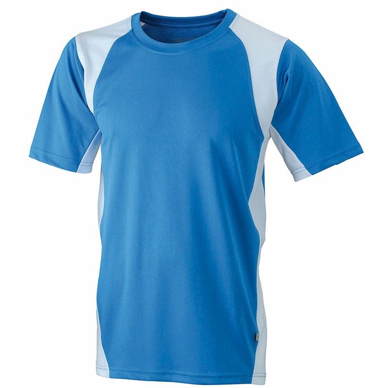 Tee-shirt publicitaire running homme Lucas - Objet publicitaire textile - bleu/blanc