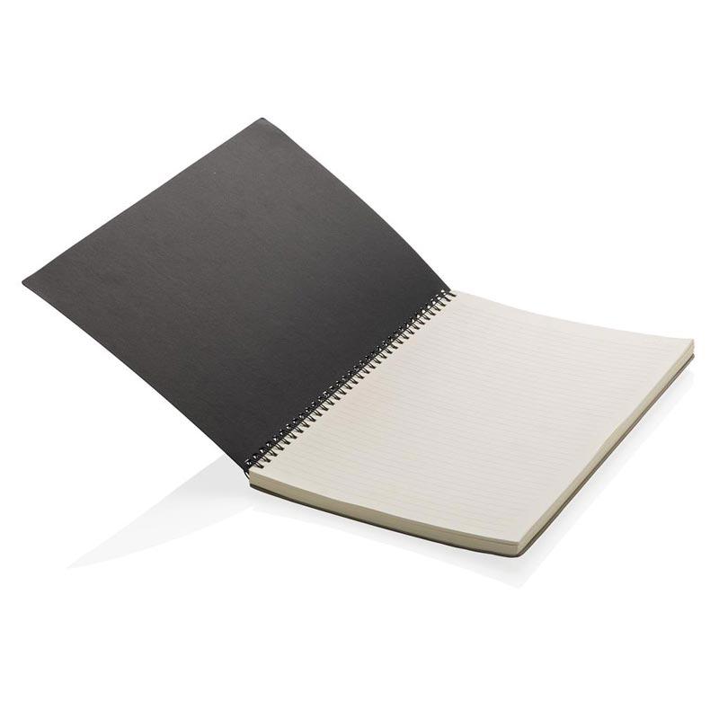Carnet personnalisé A4 Deluxe à spirales gris - objet publicitaire