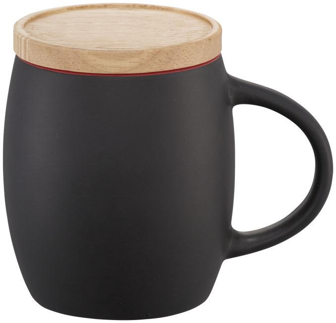 Mug publicitaire en céramique Hearth noir et rouge