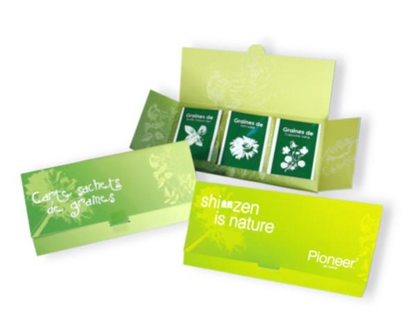 Enveloppe 3 sachets de graines à personnaliser - carte publicitaire