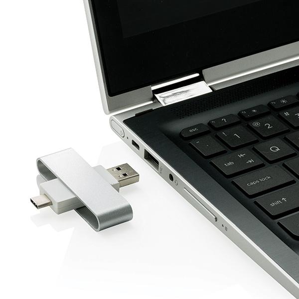 Clé USB personnalsiée avec type C Pivot - Cadeau d'entreprise