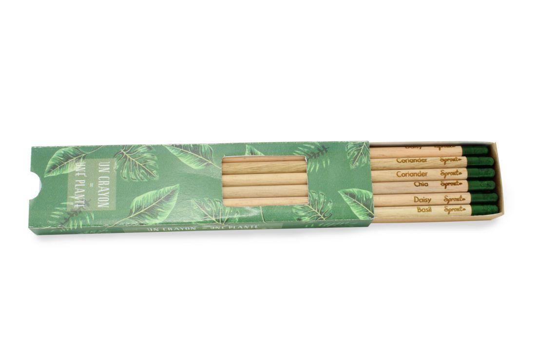 cadeau publicitaire écologique - set 6 crayons à graines publicitaires mines couleur