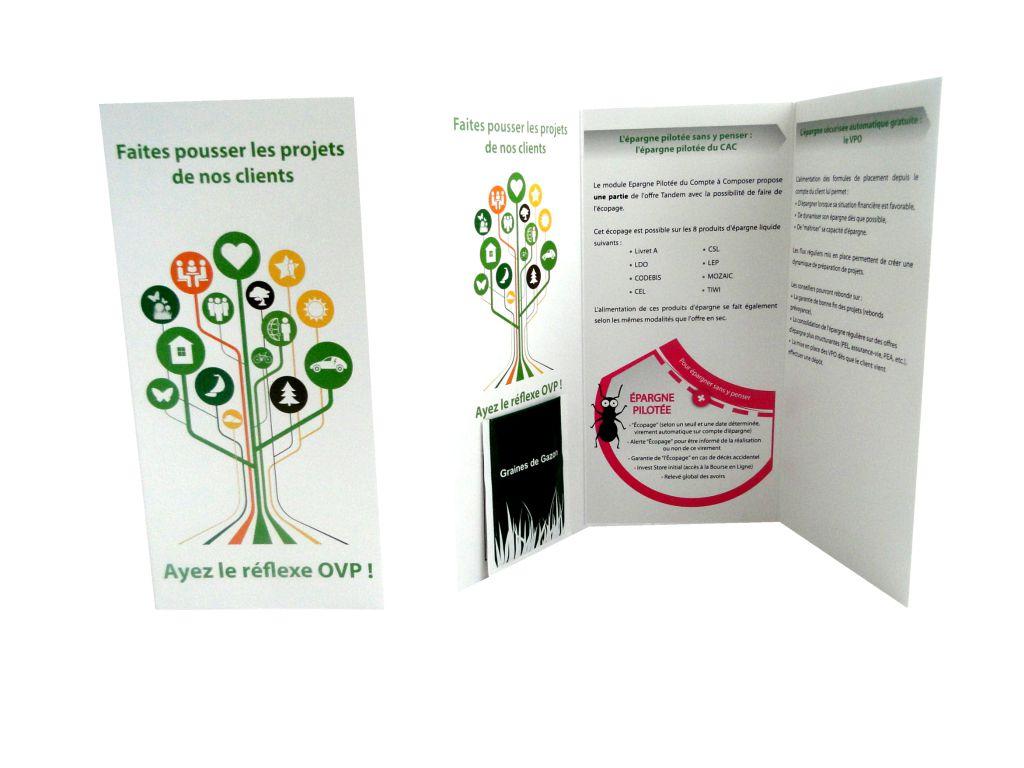 Carte 3 volets avec graines - cadeau publicitaire végétal