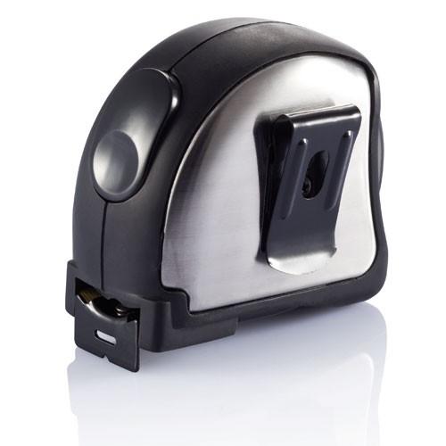 Mètre déroulant personnalisable Snail gris/noir - objet publicitaire