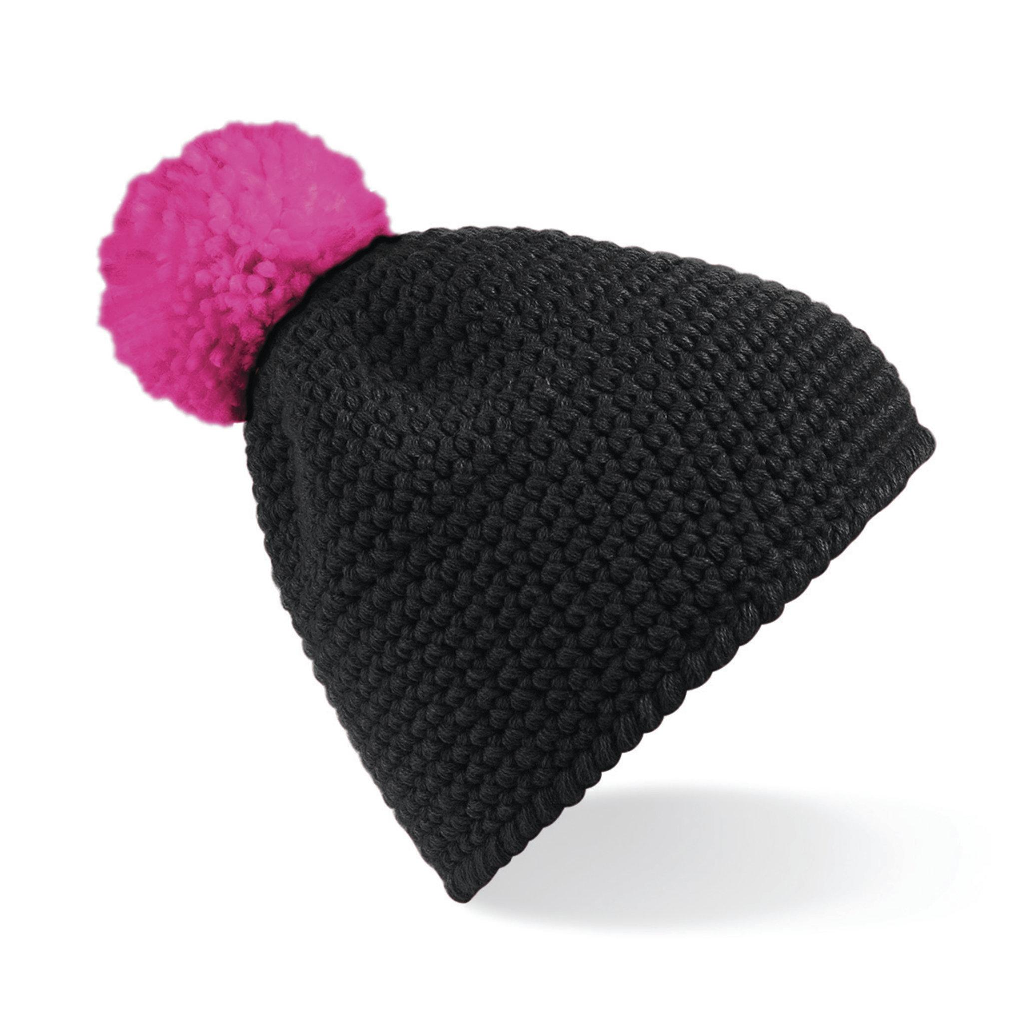 Bonnet promotionnel Waffle - bonnet personnalisable noir/fuchsia