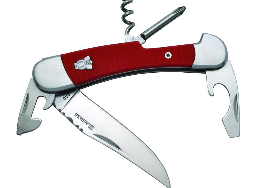 Couteau publicitaire Laguiole multifonctions, manche G10 rouge