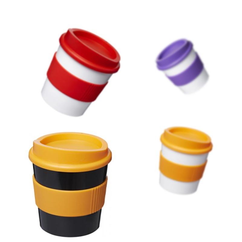 Gobelet publicitaire Brite-Americano® primo 250 ml avec bandeau antidérapant - Mug personnalisé avec couvercle