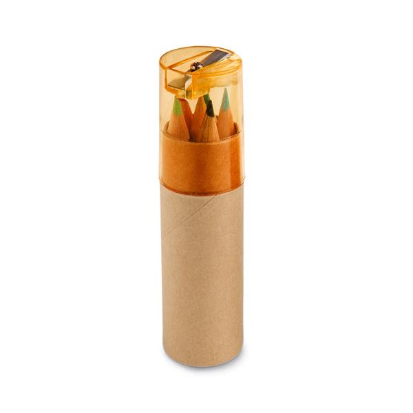 Boite de 6 crayons de couleur personnalisables écologiques Little Pablo naturel/rouge