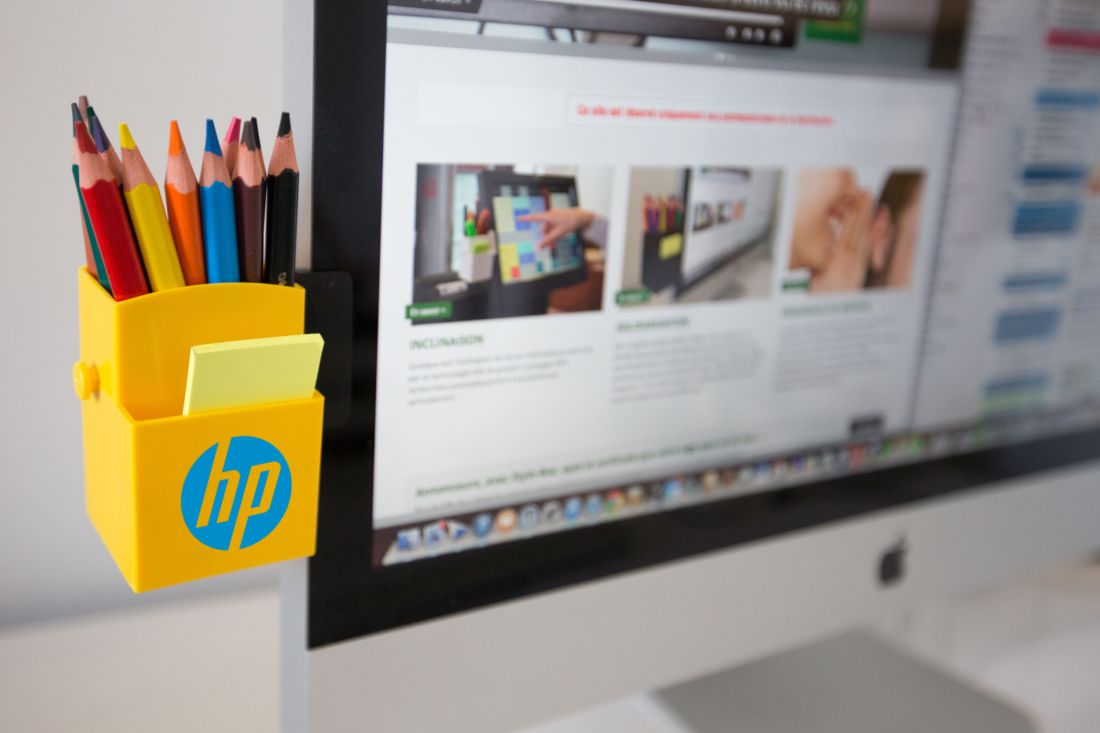 Accessoire de bureau publicitaire - pot à crayons publicitaire Stylo-box