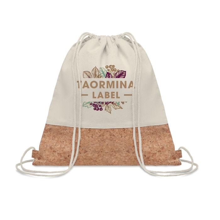 gym bag publicitaire - sac à cordelettes publicitaire en coton et liège Illa