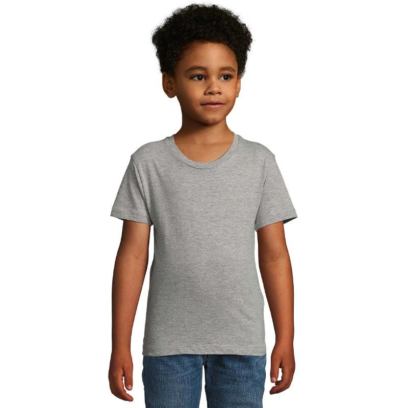 tee-shirt publicitaire enfant en coton bio gris Milo - devant