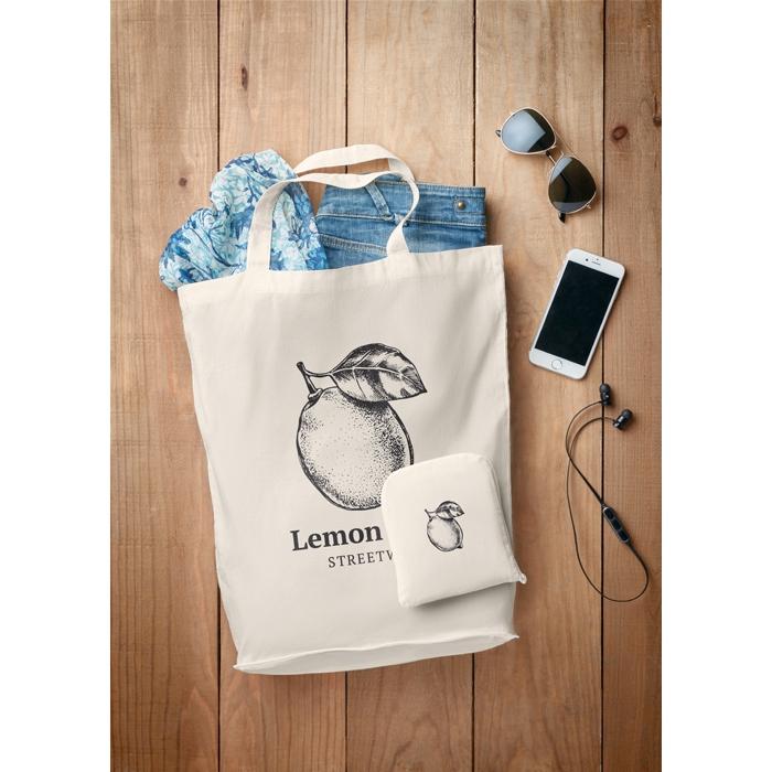 Sac shopping publicitaire pliable Foldy - sac en coton personnalisé