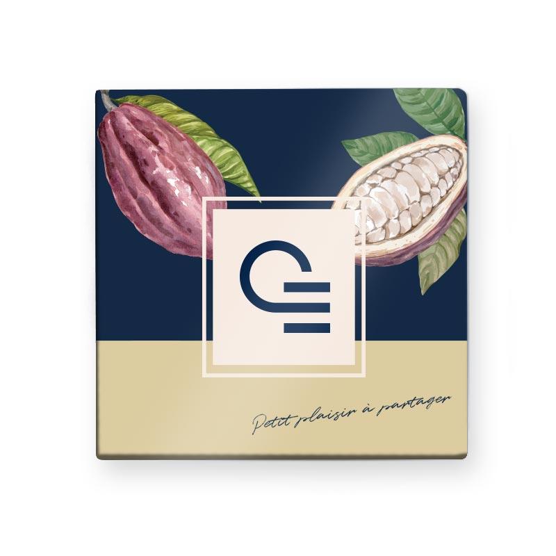 Chocolat publicitaire - Carte 9 carrés de chocolat quadri