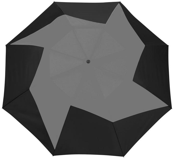 """Parapluie personnalisé à ouverture automatique 2 sections 23"""" Pinwheel noir et gris"""